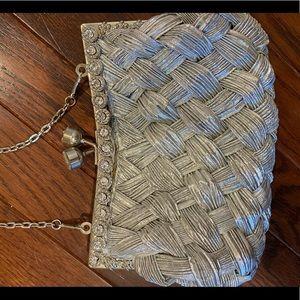 Swarovski embellished Silver woven dress bag